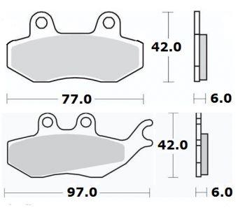 Bromsbelägg (LPI) H42mm x B77mm / H42mm x B97mm