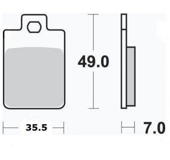 Bromsbelägg (LPI) H49mm x B35.5mm - Ten7, Monstra 90