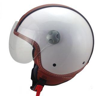 Hjälm Öppen / visir vit med brun läderdetalj