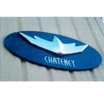 Fasadskylt Chatenet blå/silver (1200x620mm)